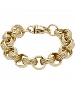 New 9ct Gold 7.5 Inch Pattern & Polish Belcher Bracelet 1.1oz