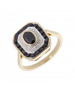 New 9ct Yellow Gold Sapphire & Diamond Cluster Ring