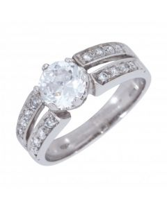 Pre-Owned 18ct White Gold Cubic Zirconia Split Band Dress Ring