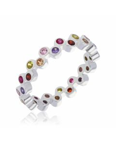 New Sterling Silver Multi Coloured Cubic Zirconia Band Ring