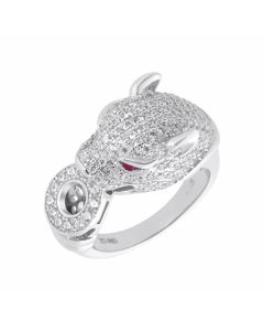 New Sterling Silver Red & White Cubic Zirconia Leopard Ring