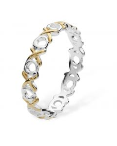 New Sterling Silver 2 Colour Hugs & Kisses Band Ring
