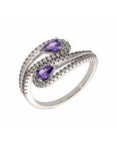 New Sterling Silver Purple Cubic Zirconia Double Teardrop Ring