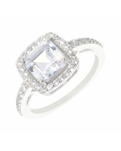 New Sterling Silver Cubic Zirconia Cushion Shaped Halo Ring