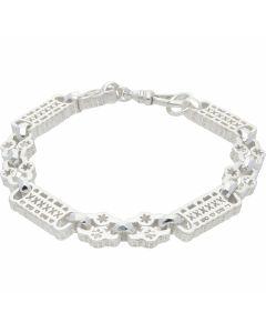 New Sterling Silver Stars & Bars 8.5 Inch Mens Bracelet 20g