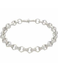 New Sterling Silver 9 Inch Hexagon Belcher Bracelet 19g