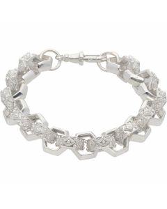 """New Sterling Silver Heavy 8.5"""" Hexagon Belcher Bracelet 1.1oz"""