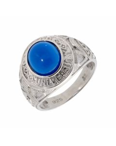 New Sterling Silver Blue Stone Oxford University College Ring