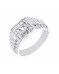 New Sterling Silver Cubic Zirconia Rolex Deign Shoulder Ring
