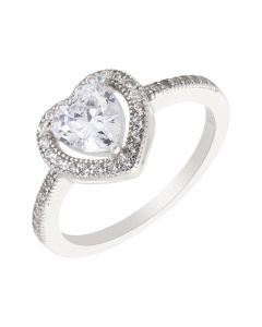 New Sterling Silver Cubic Zirconia Heart Shaped Cluster Ring