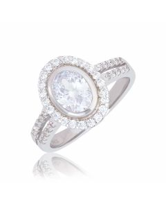 New Sterling Silver Cubic Zirconia Oval Halo Dress Ring