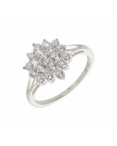 New Sterling Silver Cubic Zirconia Cluster Style Ring