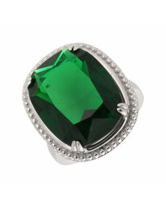 New Sterl;ing Silver Green Crystal Dress Ring