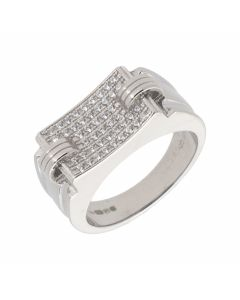 New Sterling Silver Cubic Zirconia Gents Ring