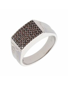 New Sterling Chocolate Silver Cubic Zirconia Gents Ring