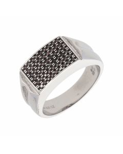 New Sterling Silver Black Cubic Zirconia Gents Ring