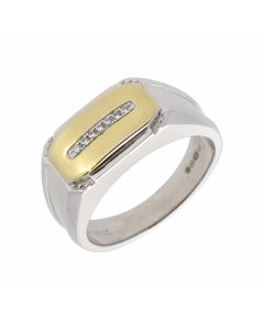 New Sterling Silver & Gold PLate Cubic Zirconia Gents Ring
