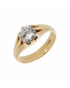 Pre-Owned 14ct Gold Gents 1.50 Carat Diamond Solitaire Ring