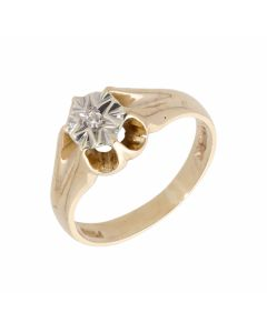 Pre-Owned 9ct Gold Illusion Set Diamond Solitaire Ring