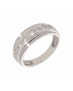 Pre-Owned 18ct White Gold Diamond Set Patterned Band Ring