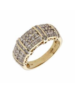 Pre-Owned 9ct Gold Multi Row Mixed Cut Diamond Dress Ring