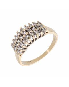 Pre-Owned 9ct Gold 0.50 Carat Triple Row Diamond Dress Ring