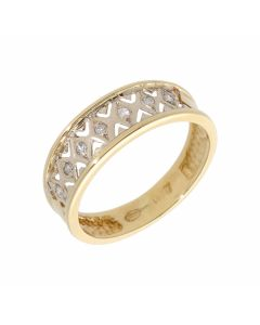 Pre-Owned 18ct Gold Diamond Set Cutout Band Dress Ring