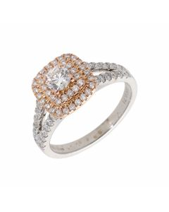 Pre-Owned 18ct White & Rose Gold 0.71 Carat Diamond Halo Ring