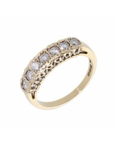 Pre-Owned 9ct Yellow Gold 0.50 Carat Diamond Half Eternity Ring