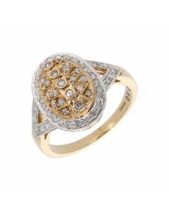Pre-Owned 9ct Gold 0.50 Carat Diamond Oval Cluster Ring