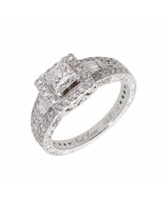 Pre-Owned 14ct White Gold 1.06 Carat Diamond Halo Ring
