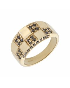 Pre-Owned 9ct Yellow Gold Black Diamond Tiled Band Dress Ring