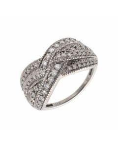 Pre-Owned 9ct White Gold 0.50 Carat Diamond Crossover Wave Ring