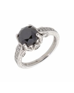 Pre-Owned 9ct White Gold Black Diamond Solitaire & Shoulder Ring