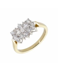 Pre-Owned 9ct Yellow Gold 0.99 Carat Diamond Cluster Ring