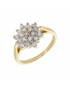 Pre-Owned 18ct Yellow Gold 0.50 Carat Diamond Cluster Ring