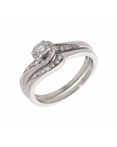Pre-Owned 9ct White Gold 0.39 Carat Diamond Bridal Ring Set