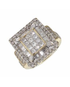 Pre-Owned 9ct Yellow Gold Mixed Cut Diamond Cluster Ring