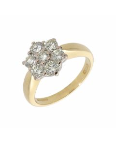 Pre-Owned 18ct Yellow Gold 1.00 Carat Diamond Cluster Ring