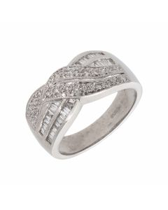 Pre-Owned 18ct White Gold Mixed Cut Diamond Multi Row Wave Ring