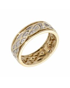 Pre-Owned 9ct Gold Diamond Set Patterned Band Ring