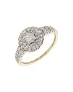Pre-Owned 9ct Yellow Gold Tiered Diamond Cluster Ring