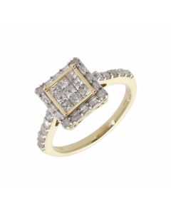 Pre-Owned 9ct Gold Mixed Cut Diamond Cluster Ring