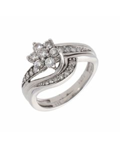 Pre-Owned 9ct Gold 0.50 Carat Diamond Cluster Bridal Ring Set