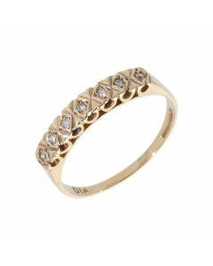 Pre-Owned 9ct Gold Illusion Set Diamond Half Eternity Ring