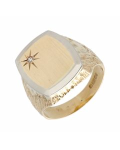 Pre-Owned 9ct Yellow & White Gold Diamond Set Signet Ring