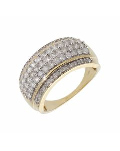 Pre-Owned 9ct Yellow Gold 5 Row Diamond Band Dress Ring