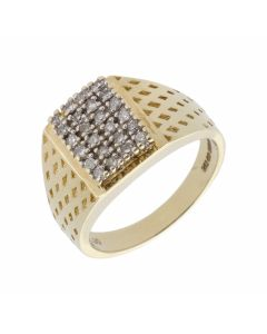 Pre-Owned 9ct Yellow Gold 0.30 Carat Diamond Signet Ring