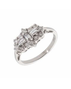 Pre-Owned 18ct White Gold 0.50 Carat Diamond Cluster Ring