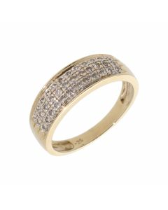 Pre-Owned 9ct Gold 0.25 Carat Multi Row Diamond Band Ring